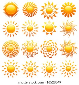 Suns. Elements for design. Vector illustration.
