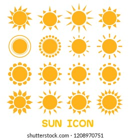 suns icon set flat design
