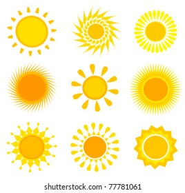 Suns icons collection. Vector illustration