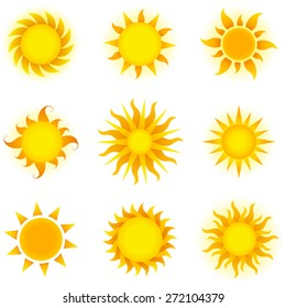 Suns - Set of 9 different vector sun and star icons.  Colors are global swatches and can be modified easily.  Each icon is grouped individually for easy editing.