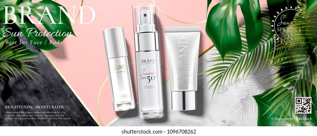 Sunscreen ads with tropical leaves on marble stone and pink background in 3d illustration, top view