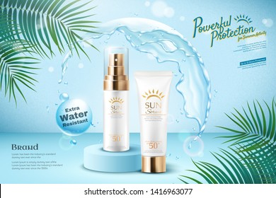 Sunscreen ads with water round shield and palm leaves in 3d illustration