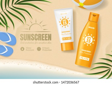 Sunscreen Cosmetic Product Ad Concept Card Background with Tube Container Lotion for Face and Body for Advertising, Promotion and Marketing. Vector illustration