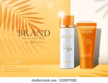 Sunscreen products set ads with summer palm leaves shadows on chrome yellow background in 3d illustration