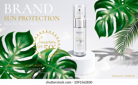 Sunscreen spray bottle on white stage with tropical leaves in 3d illustration
