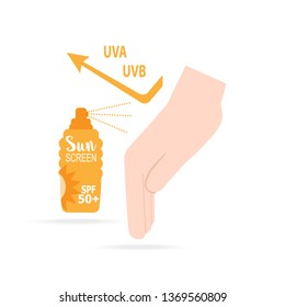 Sunscreen spray with hand icon, sunblock SPF 50+, protection skin health concept