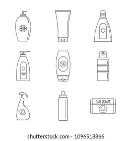 Sunscreen spray protection logo icons set. Outline illustration of 9 sunscreen spray protection logo vector icons for web