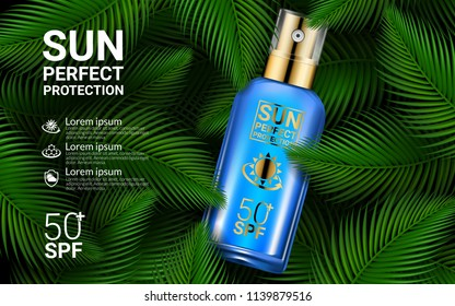 Sunscreen Spray Sun Protection Cosmetics Product Ads. Sunblock 3D Realistic Packaging Mockup Design Template on Tropical Exotic Palm Leaves Jungle Background. Poster Flyer. Vector Illustration