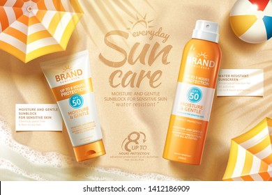 Sunscreen spray and tube ads laying on summer beach with parasol in 3d illustration