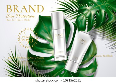 Sunscreen tube and bottle with tropical leaves in 3d illustration