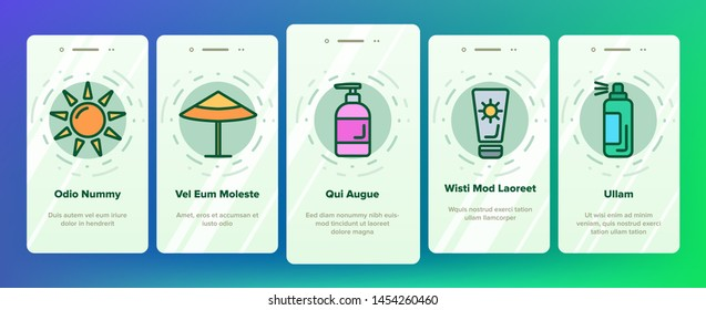 Sunscreen, UV Defence Vector Onboarding Mobile App Page Screen. Sunscreen, Suntan Rules Illustrations. Summer, Seaside Vacations Cosmetics. Skin Protection, Hats, SPF Cream, Sunglasses Pictograms