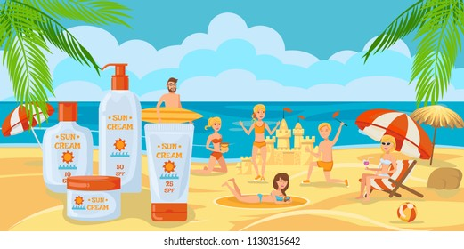 Sunscreen for whole Family. Sunny Day with Family. Family is building a Sand Castle on Beach. Protection from Cancer for whole Family. Vacation on Beach. Vacation near Sea. Vector Illustration.