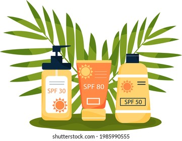 Sunscreens on the ground of tropical leaves. Tubes with inscription SPF 30,  SPF50, SPF 80. Skincear, UV protection. Vector illustration in flat style.