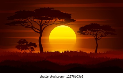 Sunset in Africa, savanna landscape vector illustration.