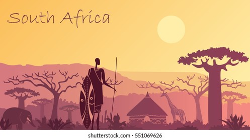 Sunset in Africa with the silhouettes of elephant, giraffe, national home and native.