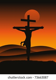 sunset background with crucifixion of jesus christ