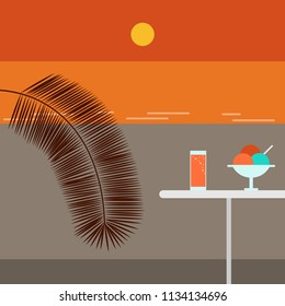Sunset beach and Cafe. Outdoor. Vector flat illustration.