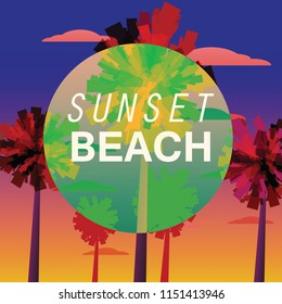 Sunset Beach Flyer, Baner, Invitation Tropical sunrise at seashore, sea landscape with palms, minimalistic illustration. Seascape sunrise or sunset. Ocean scene with rising sun, palms, mountains and