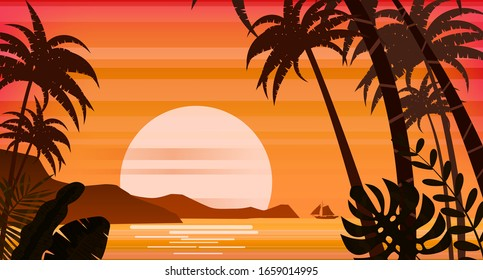 Sunset beach palm trees silhouettes, summertime, tropical sea, ocean. Panorama colorful of mountains, horison orange Sun seascape, landscape sailboat. Vector illustration isolated poster flyer