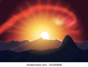Sunset behind the mountain