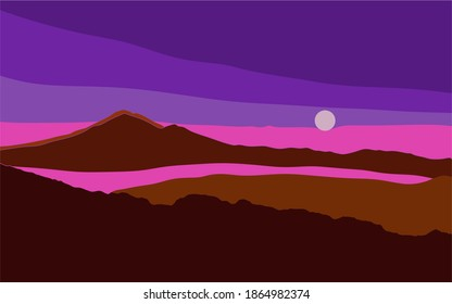 Sunset behind the mountains vector drawing. The sun is in the clouds. The mountains are covered with fog. Modern art. Vector minimalistic background. Pictures of nature in a modern style