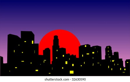 Sunset in a big modern city, vector
