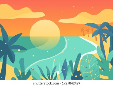 Sunset by the sea. Tropical vector illustration in warm colours. Yellow sun, ocean blue palms, grass, bushes. Cyan waves. Summer meditation picture for background, wallpaper, application. EPS10