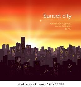 Sunset city landscape. Vector illustration.