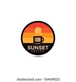 Sunset Coffee illustration logo template.