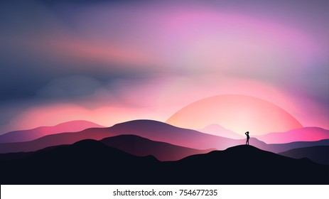 Sunset or Dawn Over Mountains with Man Staring into the Distance Landscape - Vector Illustration