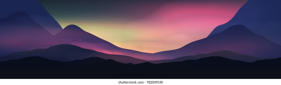 Sunset or Dawn Over Silk Mountains Landscape Panorama - Vector Illustration