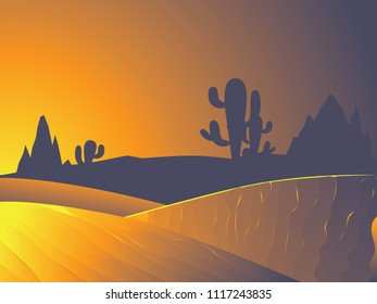 Sunset in the desert landscape with cacti and distant rocks silhouettes.