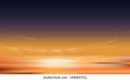 Sunset Dusk Sky in Evening with Orange,Yellow and Dark purple colour, Dramatic twilight landscape of Skyline with cloud,Vector horizon banner of Sunrise for four season weather background