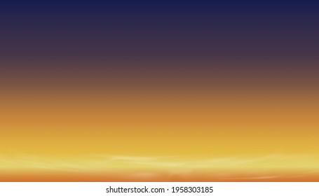 Sunset Dusk Sky in Evening with Orange,Yellow and Dark purple and Blue colour,Dramatic twilight landscape of Skyline with cloud,Vector horizon banner of Sunrise for four season weather background