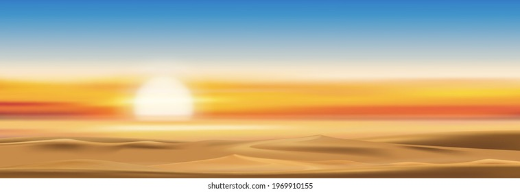 Sunset with dusk sky in gloden yellow, orange and blue sky in evening,Tropical sea sunrise with colourful natural twilight sky for four season background on Spring,Summer,Autumn, Winter