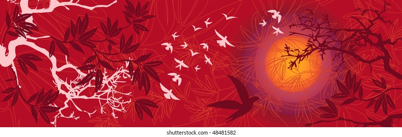 Sunset Eastern Landscape with Birds and Trees