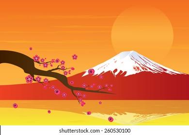 Sunset Fuji Mountain and Cherry Blossom