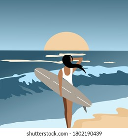 Sunset and a girl on the beach. Sea, waves, quiet storm. Vector Illustration.