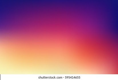 Sunset glow vector gradient illustration. Colors of the sky at sunrise morning or evening. Vibrant abstract color blur background in purple, pink, orange and yellow.