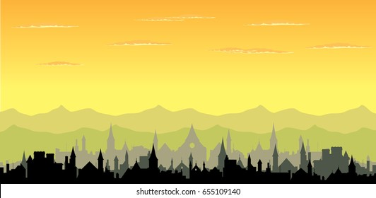 Sunset, hill and old town silhouette vector nature illustration, cityscape