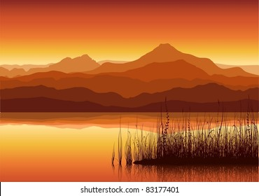 Sunset in huge mountains near lake with grass. Vector illustration.