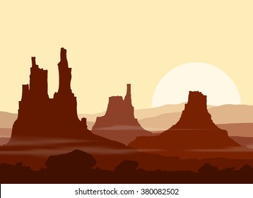 Sunset in huge red Mountains. Vector illustration.