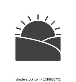 Sunset icon. Sunrise flat simple pictogram. Sun and field vector illustration