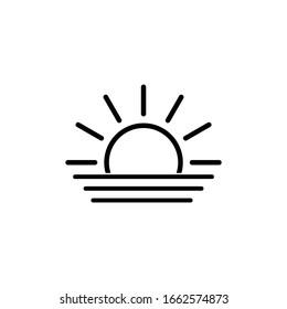 sunset icon, sunrise icon. weather symbol black vector