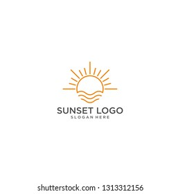 sunset logo vector
