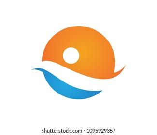 Sunset logo and wave beach logo