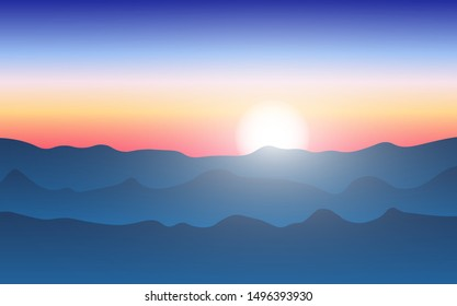 Sunset mountain view.  Vector illustration.