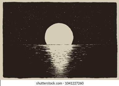 Sunset at the night sea on coast.Vector illustration
