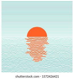 Sunset in ocean - striped background. Vector line art