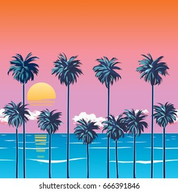 Sunset on the beach with palm trees, turquoise ocean and orange sky with clouds. Sun over the horizon. Tropical backdrop for a summer vacation. Surfing beach. EPS 10 vector illustration